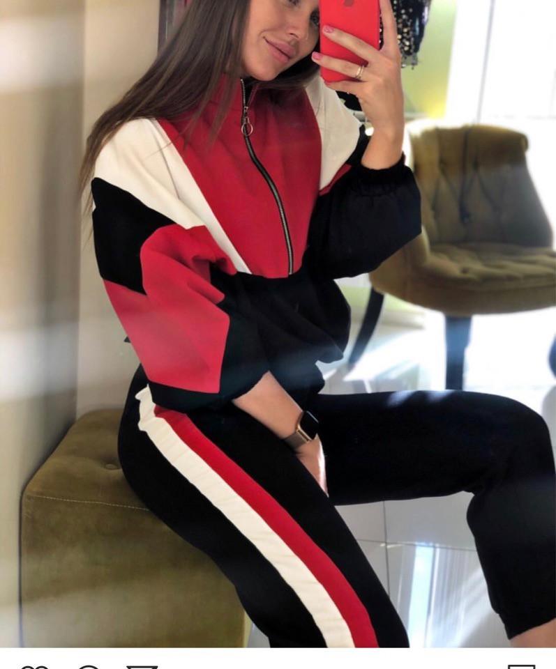 Женский костюм спорт шик с объемной олимпийкой 7105683
