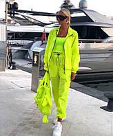 Плащевый женский неоновый костюм с мастеркой на молнии 7105685, фото 1