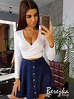 Юбочный костюм вельветовая юбка - солнце и топ на запах с длинным рукавом 66101403Е, фото 1
