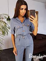 Женский брючный костюм с рубашкой и брюками с завышенной талией 66101405Е, фото 1