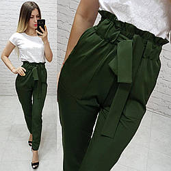Женские брюки с высокой посадкой  арт.168, цвет хаки