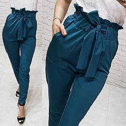 Женские брюки с высокой посадкой  арт.168, цвет бутылочный