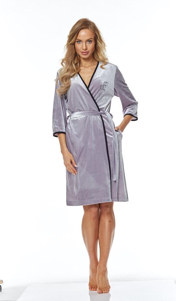 Однотонний жіночий халатик на запах L&L 9114