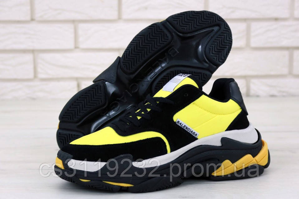 Мужские кроссовки Balenciaga Triple-S (желто-черные)