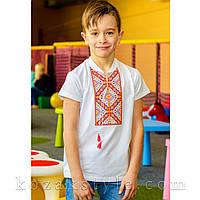 Вишиванка трикотажна для хлопчика біла, фото 1