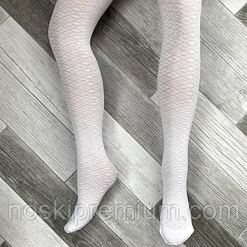 Капронові Колготки дитячі білі з малюнком Prestige, Україна, 50 Den, 02752
