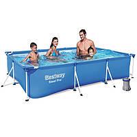Каркасный прямоугольный бассейн 300*201*66  см с фильтром  Bestway 56411