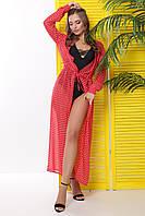 Шифоновая туника красного цвета в горошек с длинными рукавами для пляжного отдыха