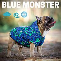 Непромокаемая одежда для собак из мембраны.  Жилет для французских бульдогов, мопсов.  Blue Monster.