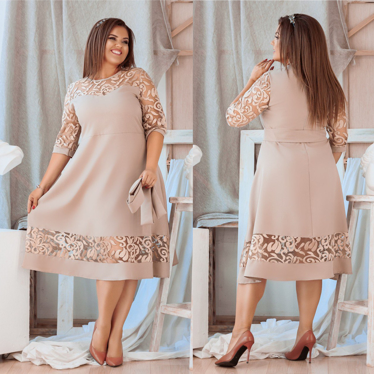 Платье  гипюр вышивка  БАТАЛ в расцветках 712656