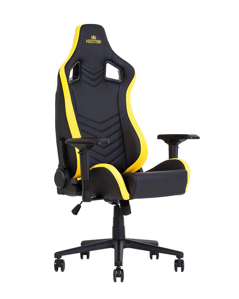 Крісло геймерське Hexter PRO R4D механізм Tilt хрестовина МВ70, екошкіра Eco / 01 black / yellow (Новий Стиль