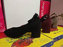 Туфли на маленьком каблучке замшевые бордовый черный бежевый Код 2260, фото 2