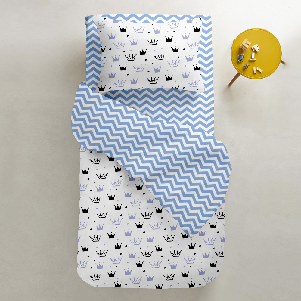 Комплект підліткового постільної білизни CROWN BLUE /зигзаг блакитний/