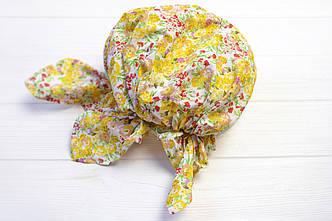 Косынка-бандана на резинке цветы желтый (H-237)