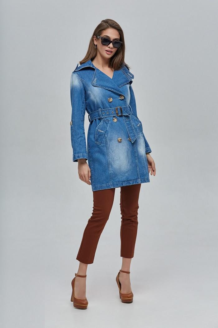 Двубортный укороченный джинсовый тренч с поясом 35 (42–52р) т. голубой