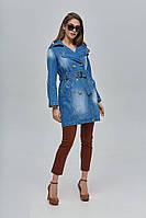 Двубортный укороченный джинсовый тренч с поясом 35 (42–52р) т. голубой, фото 1