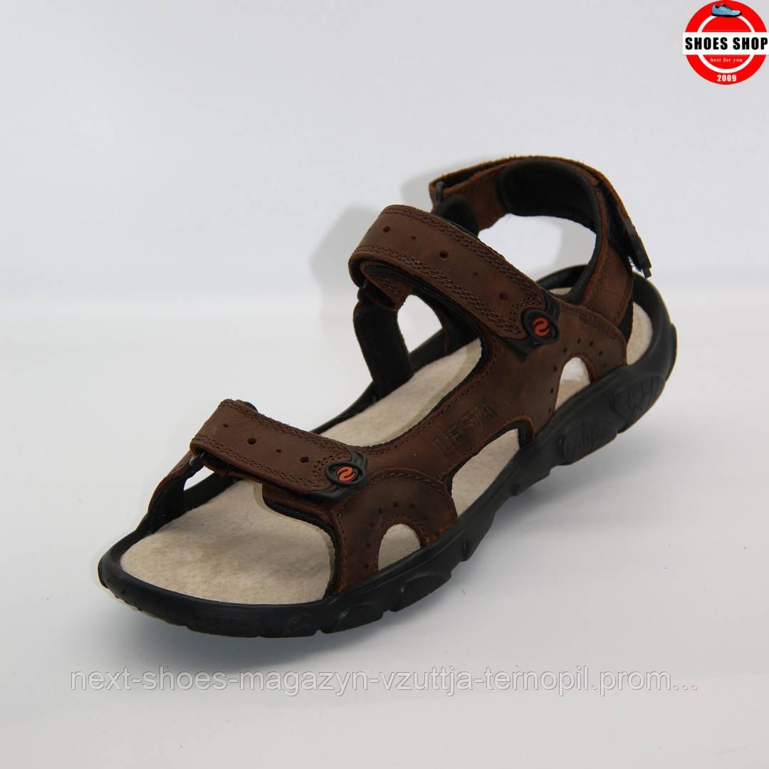 Чоловічі сандалі Lesta (Польща) коричневого кольору. Зручні та красиві. Стиль - Девід Бекхем