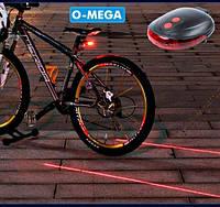 Велосипедный фонарь + лазер KK-9301, фото 1
