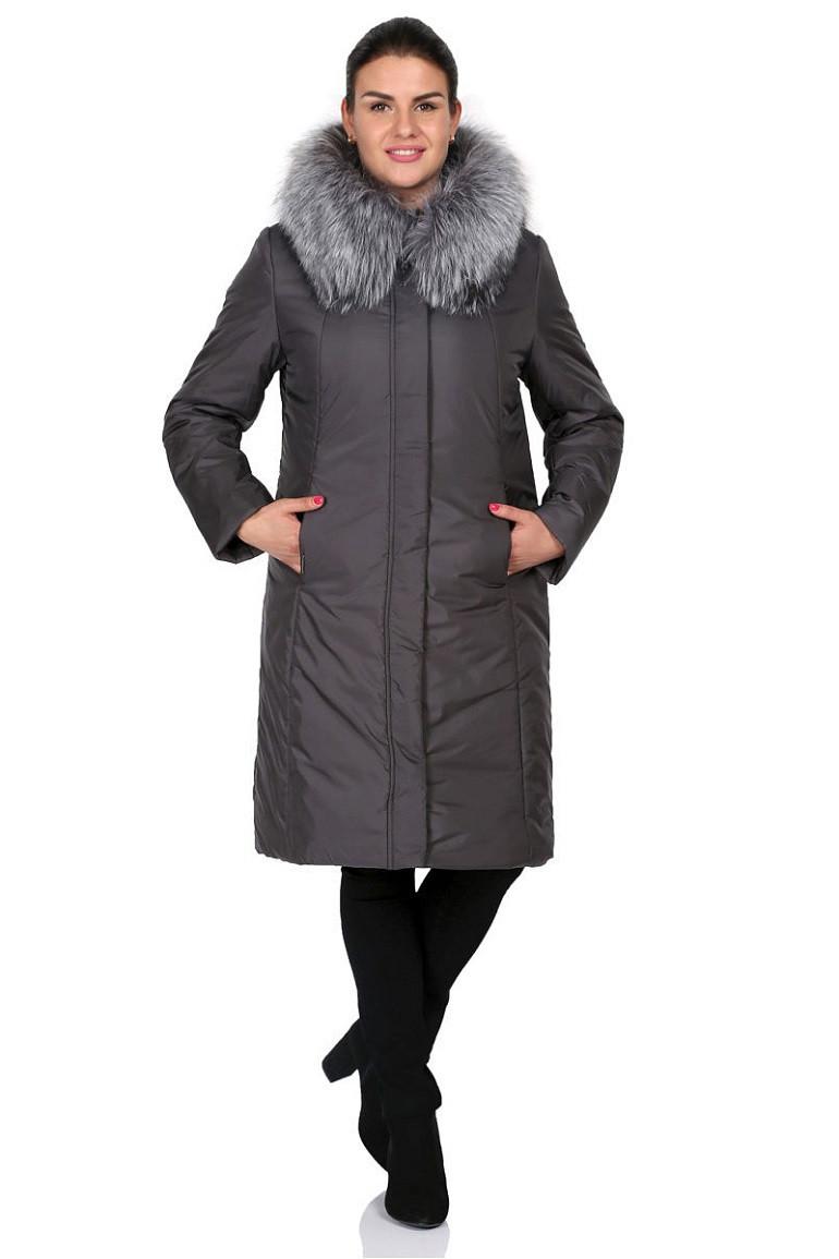 Однотонное зимнее пальто с капюшоном Катерина серый (48-56)