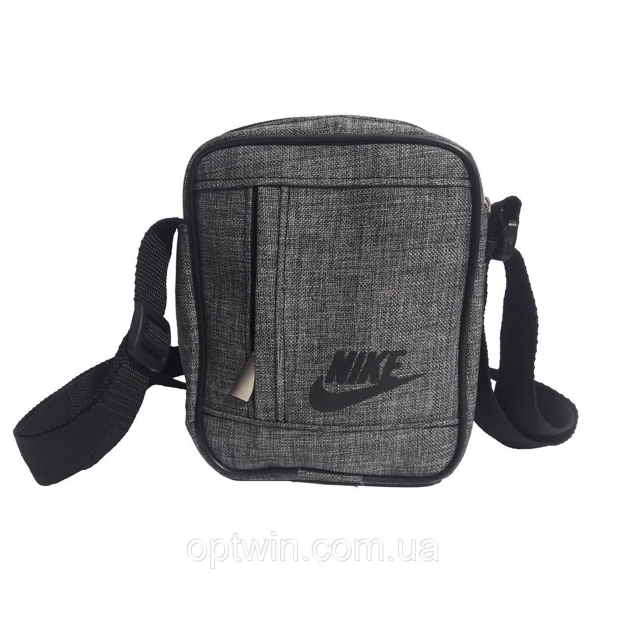 Сумка на плечо, барсетка Nike серая, на 3 отделения (реплика), фото 1