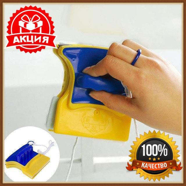 Двусторонняя магнитная щетка для мытья окон Glass Wiper, магнитный скребок для стекол, щетка для мытья окон, щітка для миття вікон, фото 1
