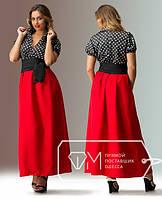 Платье длинное с поясом ,батал  03021
