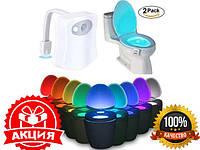Подсветка для унитаза с датчиком движения toilet light bowl, Светодиодная подсветка унитаза, Підсвічування для унітазу, led подсветка для унитаза, фото 1