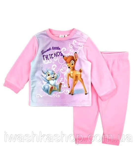 Теплая флисовая пижама, костюм с Бэмби в подарочной упаковке для девочки 2 лет, Disney baby