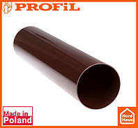 Водосточная пластиковая система PROFIL 90/75 (ПРОФИЛ ВОДОСТОК). Труба водосточная Ø75 4м. коричневый