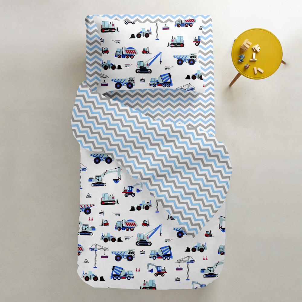 Комплект подросткового постельного белья BUILDING /зигзаг серо-голубой/