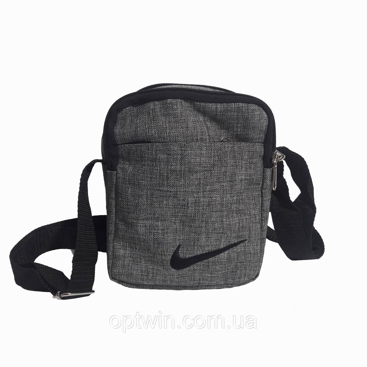 Сумка на плечо, барсетка Nike серая, на 4 отделения (реплика), фото 1