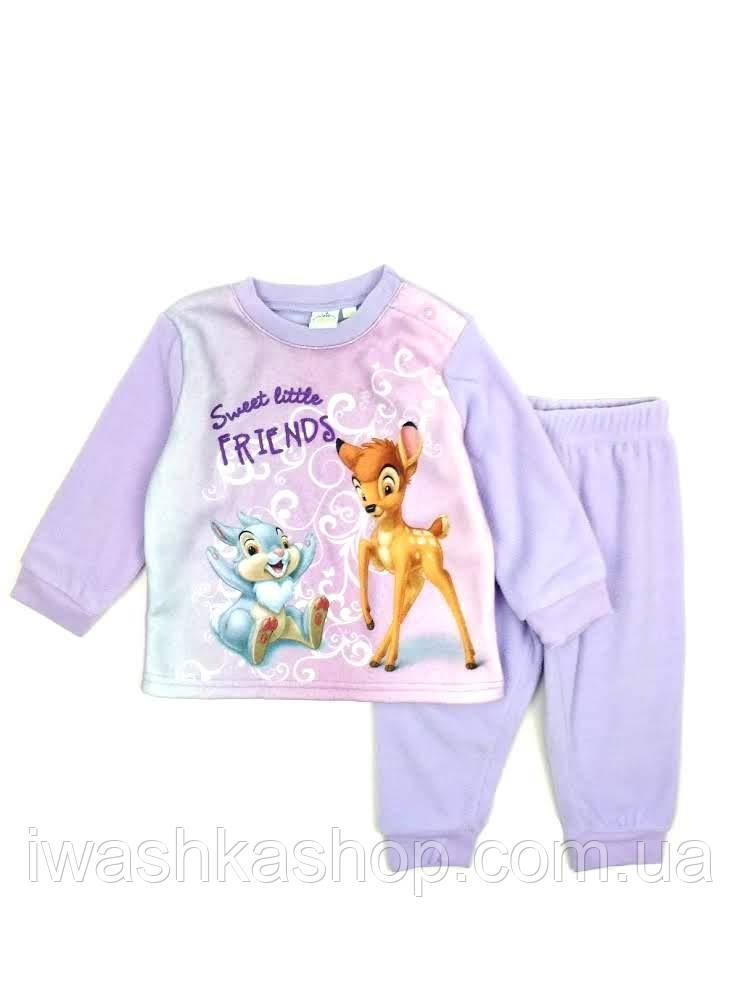 Сиреневая флисовая пижама, костюм с Бэмби в подарочной упаковке для девочки 2 лет, Disney baby