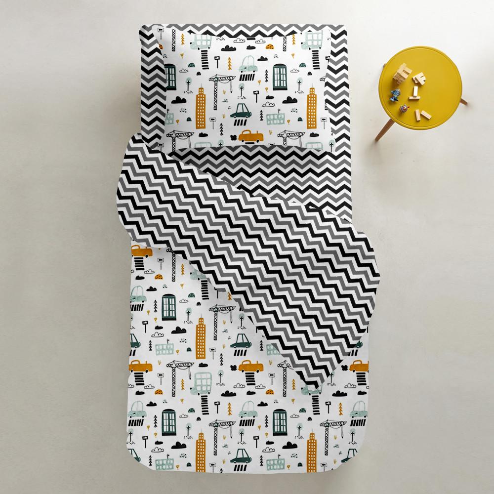 Комплект підліткового постільної білизни BUILDING /зигзаг чорно-сірий/