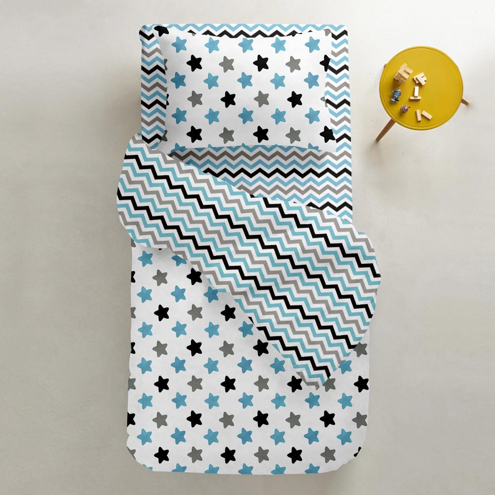 Комплект подросткового постельного белья SKY STARS /зигзаг бирюзово-серый/