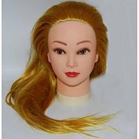 Учебная голова YRE-528-144 искусственные термо волосы (блонд золотой), фото 1