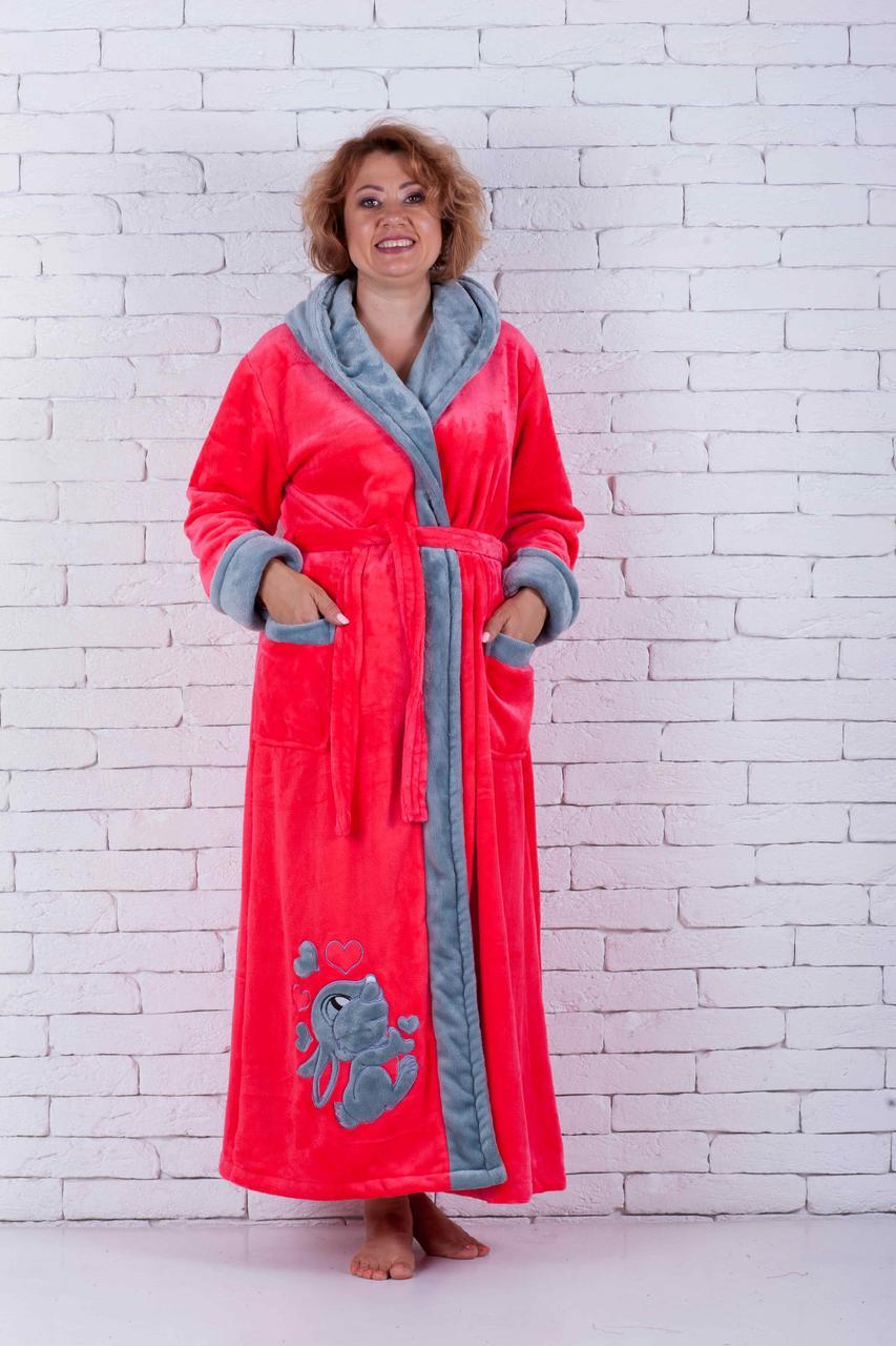 Женский халат махровый с вышивкой зайка
