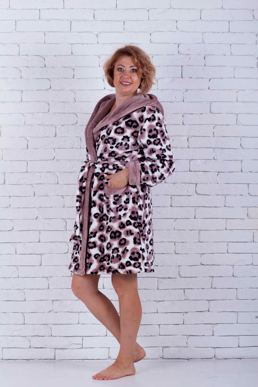 Халат женский махровый леопардовый короткий