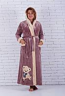 Женский халат махровый с вышивкой мишка