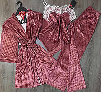 Теплые пижамы, велюровый халат+штаны+майка-комплект.