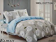 Сатиновое постельное белье евро ELWAY 5060 «Цветочный орнамент»