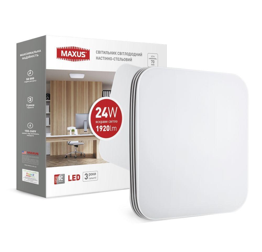 Накладной светодиодный светильник MAXUS 24Вт Квадрат Нейтральный белый 4100К