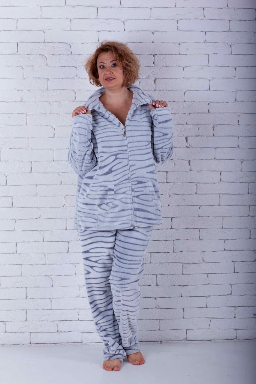 Пижама женская на молнии большого размера шиншила