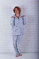 Пижама женская на молнии большого размера шиншила, фото 1