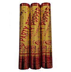 Пневмохлопушка Party Popper (Ассорти золото) красный стиль, 30 см