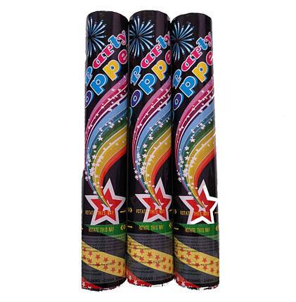 Пневмохлопушка Party Popper (Ассорти Радуга) звезды, 30 см, фото 2
