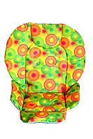 Чехол DavLu к стульчику для кормления Сhicco Polly 2 в 1 Разноцветные круги на желтом (Ch-006), фото 1