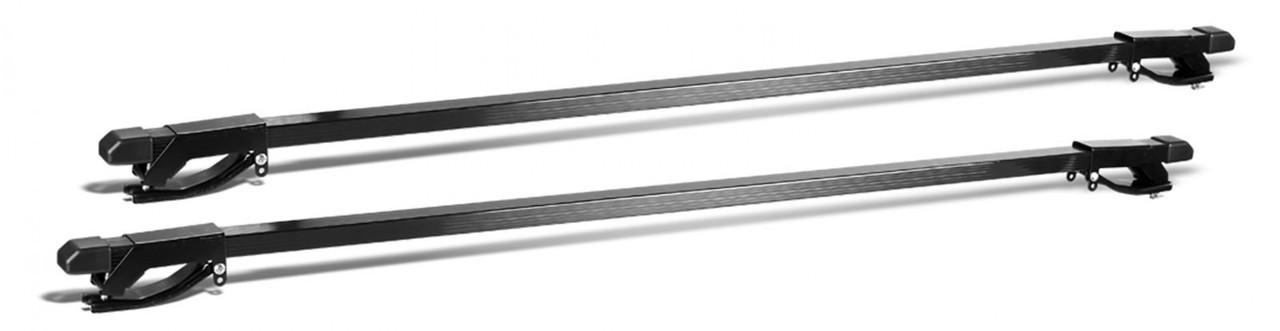 Багажник универсальный на рейлинги любой формы с кронштейном типа «хомут» (сталь, прямоугольный профиль) 122см