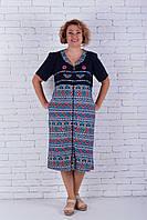 Халат большого размера летний cиний, фото 1