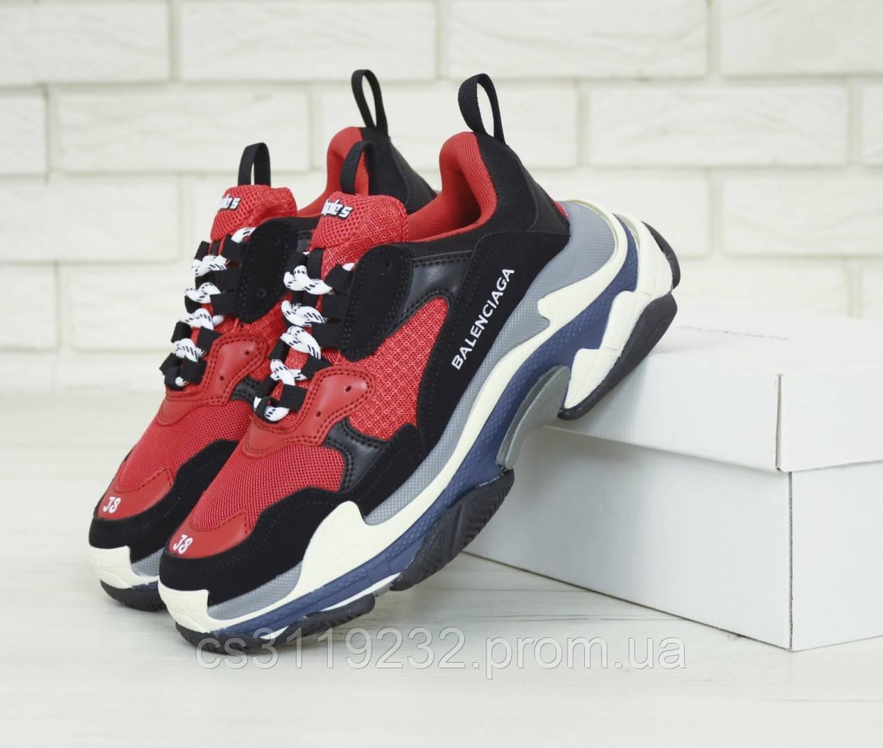 Мужские кроссовки Balenciaga Triple-S (красно-черные)
