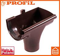 Водосточная пластиковая система PROFIL 90/75 (ПРОФИЛ ВОДОСТОК). Ливнеприемник правый P, коричневый
